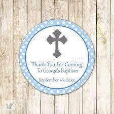 light blue gray 40 stickers boy baptism gift favor label christening blue gray