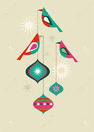 christmas birds with decorative balls royalty free cliparts