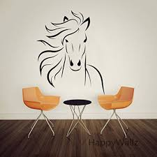 amazon com large animal run horse mustang wall decal sticker boodecal mustang horse silhouette wall decal mural decor for bedroom kids room playroom 22 27