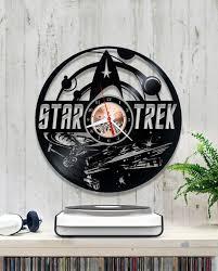 vinyl wall clock star trek record clock 1 6 8 birthday gift zoom