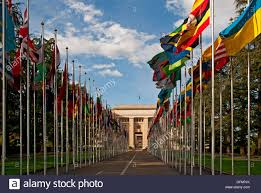 Flags Of All Nations Palace Of Nations Geneva Switzerland Headquarters For Europe Of