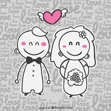 Groom To Bride Wedding Card Vector Wedding Invitation Card With Cartoon Bride And Groom Free