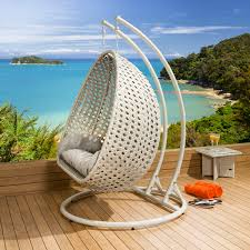outdoor garden single and double hanging pod chair set stone
