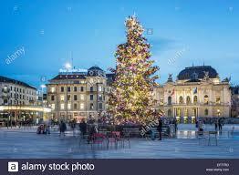 christmas tree sechselaeuten square opera house zurich stock