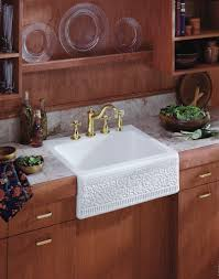 Kitchen With Farm Sink - decorating square white apron sink plus faucet on brown wooden