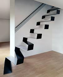 suspended solid steel staircase seems to float on air