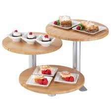 cal mil 3347 3 60 3 tier swivel display with round bamboo shelves