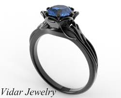 black gold engagement ring custom blue sapphire flower engagement ring in black gold vidar