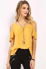 shoulder cut out blouse cut out shoulder top w necklace shop blouse shirts at papaya