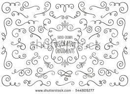 set vector swirl ornaments handdrawn stock vector 492387811