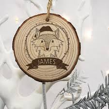 personalised woodland fox christmas tree decoration u2013 prints279
