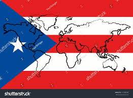 Flag Puerto Rico The Flag Of Puerto Rico With The Outline Of The World Map Of