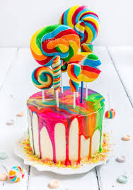 psychedelic rainbow swirl lollipop cake raspberri cupcakes
