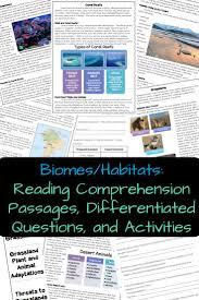 biomes and habitats reading comprehension differentiated