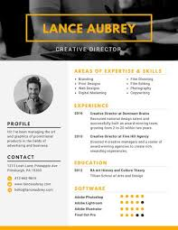 Creative Director Resume Sample by Yellow Creative Director Photo Resume Templates By Canva