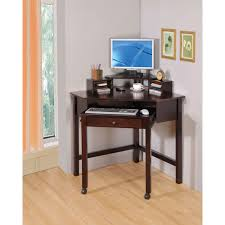 cappuccino small corner desk with one drawer and roller coaster
