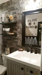 best 20 bathroom accent wall ideas on pinterest toilet room diy rustic bathroom makeover using lowe s airstone as our accent wall ikea shelves and