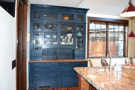 Painted And Glazed Kitchen Cabinets by Cabinet With Blue Paint And Glaze Beaded Board William Pepper