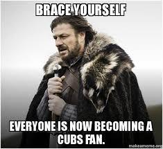 Cubs Fan Meme - brace yourself everyone is now becoming a cubs fan brace