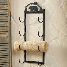 Black Bathroom Towel Bar Bear Wall Door Mount Towel Rack Rustic Country Decore