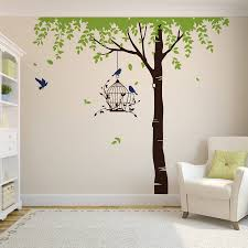 summer tree with bird cage wall stickers by parkins interiors summer tree with bird cage wall stickers