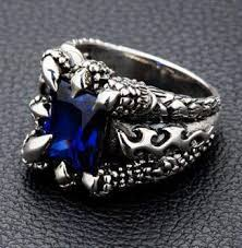 mens ring sterling silver blue sapphire claw mens ring bikerringshop