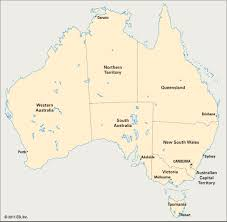 territories of australia map map of australia with states and territories major