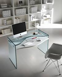 computer in glass desk glass top desks bring style into the workspace