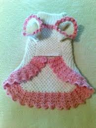 laid out view of one piece crocheted dog sweater pattern puppy