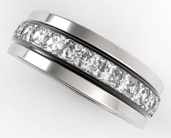 mens wedding rings white gold mens wedding band 14k black and white gold princess cut diamonds