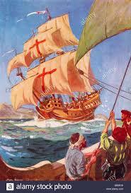 christopher columbus flagship santa maria replica at funchal stock