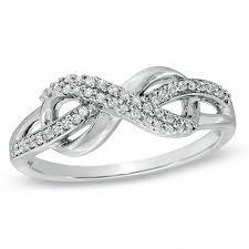 engagement rings sterling silver 1 5 ct t w infinity loop ring in sterling silver