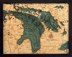 custom wood charts of lake huron from carved lake nautical