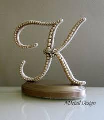 k cake topper script pearl monogram cake topper white or ivory pearls