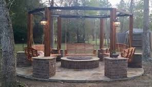 how to build a hexagonal swing with sunken fire pit diy projects