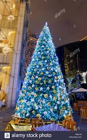big tree with blue lights on the with stock