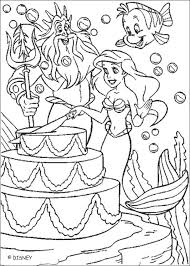 ariel u0027s birthday cake coloring pages hellokids com