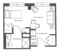 Studio Apartment Layout Floor Plan For A 400 Sq Ft Apartment Tiny House Pinterest
