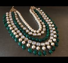 shell pearls necklace images Buy kundan and shell pearls necklace embellished with emerald jpg
