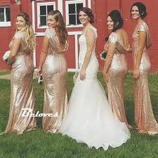 gold bridesmaid dresses sequin gold mermaid bridesmaid gown prom dress low back