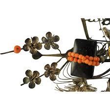 antique japanese bira bira kinzashi hair ornament edo period coral