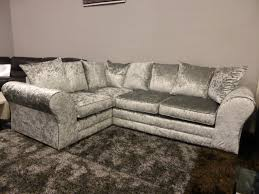 Grey Silver Sofa Boleyn High Quality Grey Silver Crushed Velvet Corner Sofa