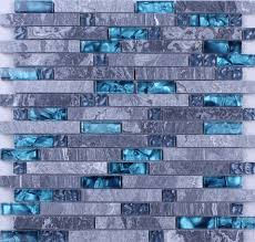 Blue Glass Stone Mosaic Wall Tiles Gray Marble Tile Kitchen - Blue backsplash tile