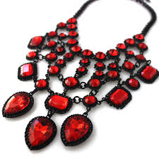 red chain necklace images Ruby red mosaic gemstone net cascade statement bib necklace jpg