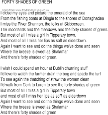 irish music song and ballad lyrics for forty shades of green