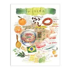 dessin recette de cuisine la feijoada illustration recette brésilienne décor cuisine