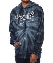 thrasher silver flame logo grey tie dye pullover hoodie thrasher