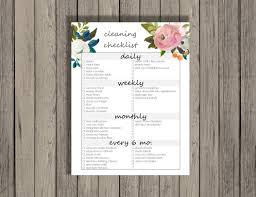 cleaning checklist printable daily weekly monthly and every 6