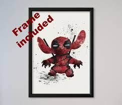 stitch deadpool poster watercolor print poster wall decor fine