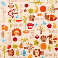 thanksgiving autumn fabric happy harvest retro